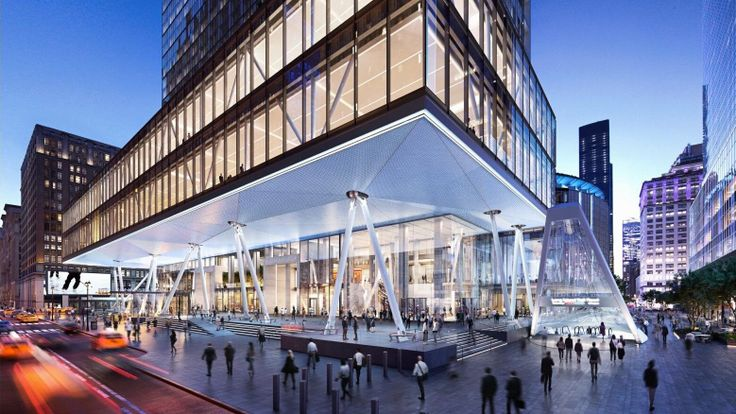 An expanded 2 Penn Plaza and the East Side Gatewway glass canopy (Rendering credit: DBOX via Vornado and MdeAS