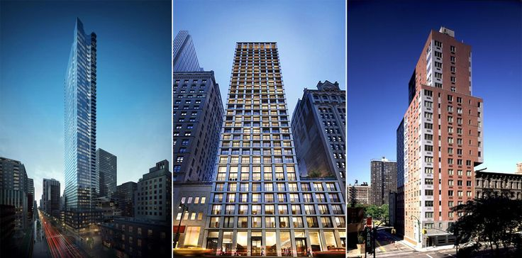 From L to R: 252 East 57th Street, The Bryant, and The Vantage