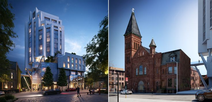 The rising residential project at 304 Rodney (329 Broadway) and St. Paul's Evangelical Lutheran Church and the