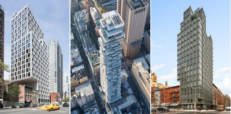 L to R: 160 East 22nd Street (S9 Architecture), 56 Leonard (Credit (Iwan Baan), and 303 East 77th Street (FXFowle Architects)