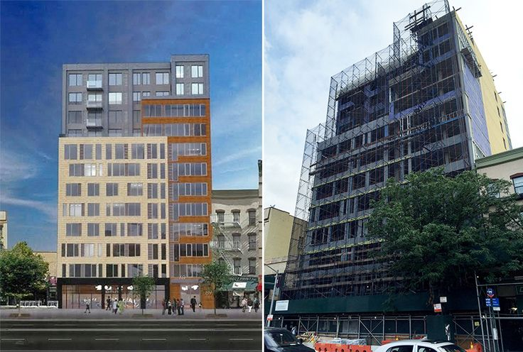 Rendered Elevation and Construction Photo of 69 East 125th Street