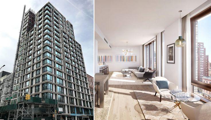 200 East 21st Street (l; Ondel/CityRealty) and interior rendering (r; Douglas Elliman)