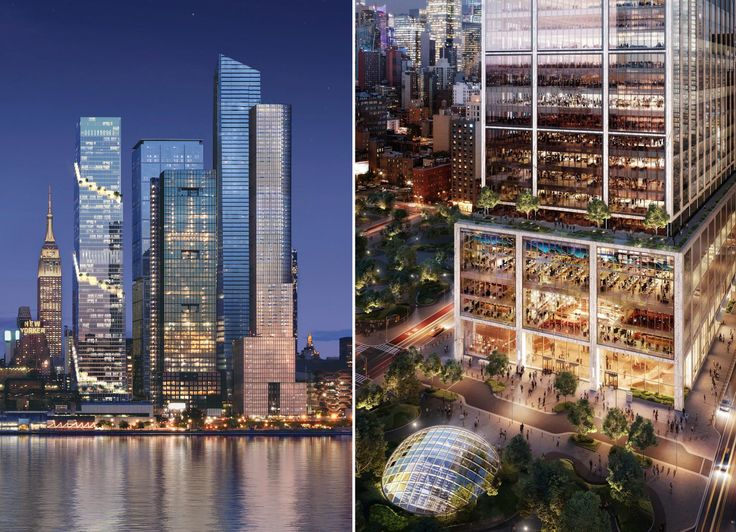 The Spiral designed by BIG and 50 Hudson Yards designed by Foster + Partners