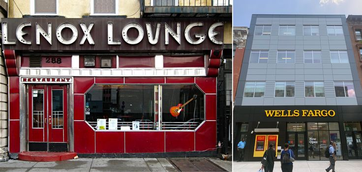 The old Lenox Lounge front and a rendering of its new newly-finished replacement