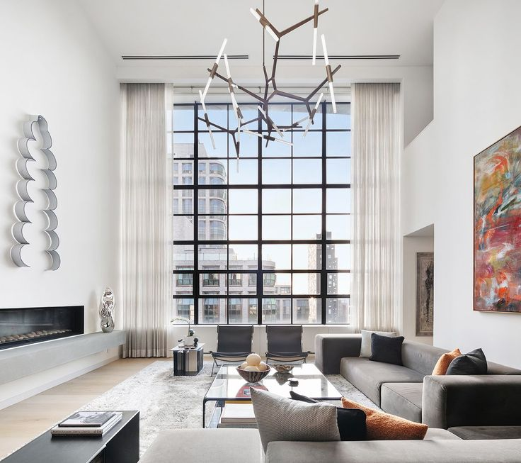 Penthouse with double-height ceiling at 456 West 19th Street in West Chelsea