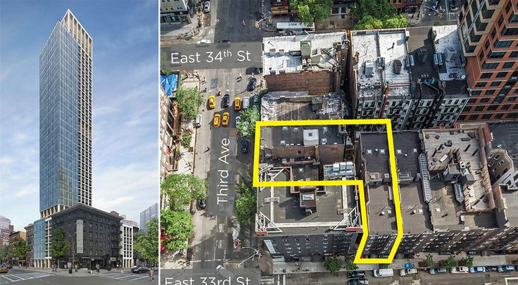 A three parcel assemblage at 493-495 Third Avenue and 203 East 33rd Street may yield a 35-story residential tower.