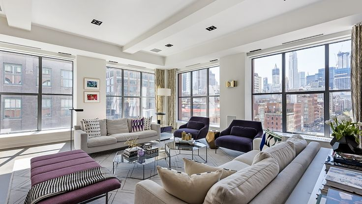 408 Greenwich Street. The 7th floor unit's 40-foot living room.