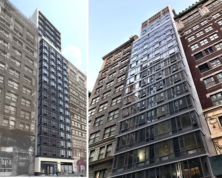 145 Madison rendering (via Winick) and photos showing recently uncovered facade (CityRalty)