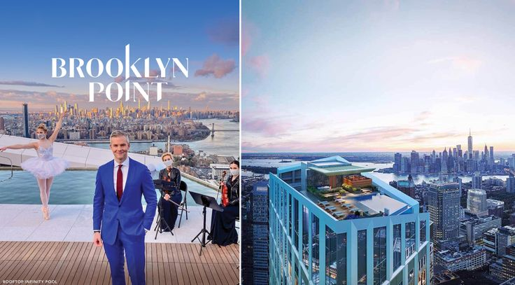 Brooklyn Point with Ryan Serhant atop its infinity pool roof deck. The condo is among numerous new options to purchase in Downtown Brooklyn