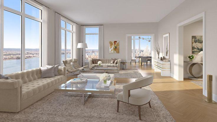 Living Room, 30 Park Place, Condo, Manhattan, NYC