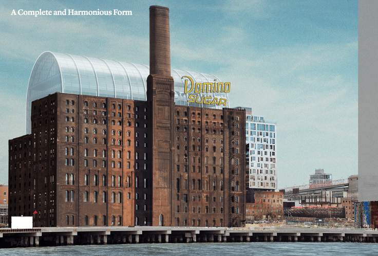 Rendering of Domino Sugar Refinery at 292-314 Kent (Practice for Architecture and Urbanism via Landmarks Preservation Commission)