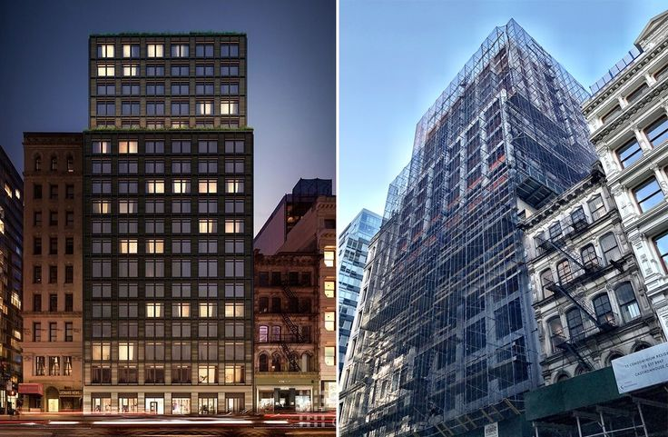 Rendering (l; Toll Brothers City Living) and photo (r; CityRealty) of 91 Leonard Street