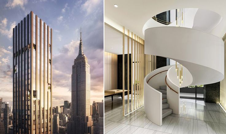 277 Fifth Avenue (l) and Empire State Building (r); amenity staircase (Corcoran)