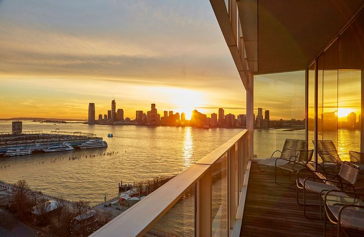 Balcony overlooking the Hudson River at 165 Charles Street