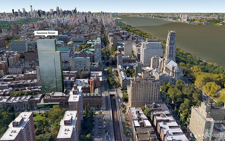 Google earth aerial showing massing of Savanna's Morningside Heights tower (CityRealty)