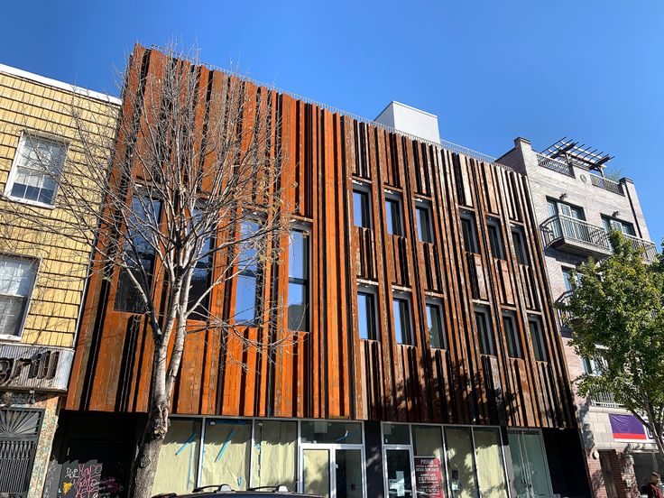 285 Grand Street as of November 2019 with its new COR-TEN steel facade installed (CityRealty)