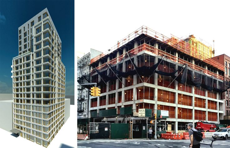 Rendering of 200 East 21st St. via Bravo Builders; Construction progress as of mid-April by CityRealty