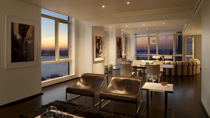 Living Room, 200 Chambers Street, Condo, Manhattan, NYC