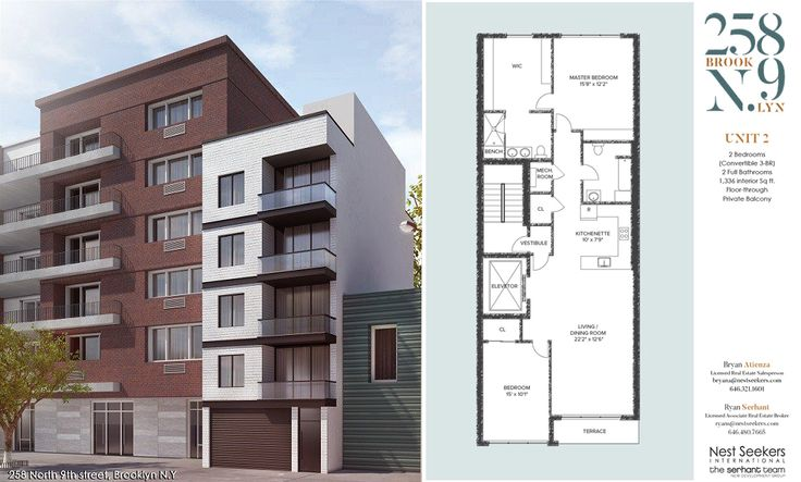 258 North 9th Street and floorplan of unit #2; Nest Seekers