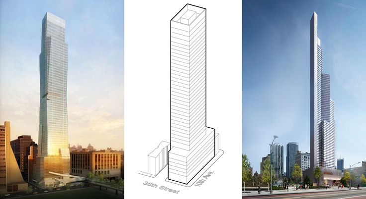 Schematic and shelved designs for sites on Tenth Avenue slated for large mixed-use towers