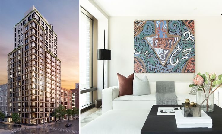 Rendering of 200 East 21st Street and photo of model unit #8C