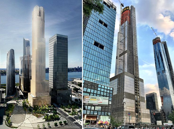 L: 35 Hudson Yards rendering courtesy of Related-Oxford, R: Construction photo by CityRealty