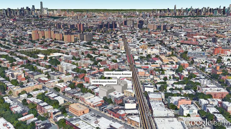 An aerial rendering of the two properties located along Greene Avenue in Bedford-Stuyvesant, Brooklyn. (Google Earth image created by CityRealty)