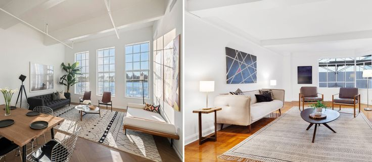 Would you rather live in a Williamsburg condo conversion (l, via Nest Seekers) or a Midtown co-op (r, via Compass)? Both are listed for $1 million.