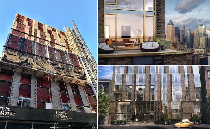L: Charlie West construction progress (CityRealty), R: Exterior renderings via ODA Architecture