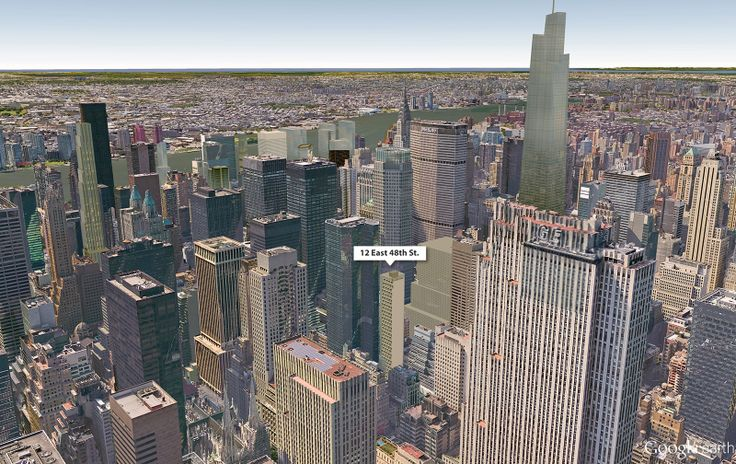 Google Earth aerial with 12 East 48th Street; CityRealty