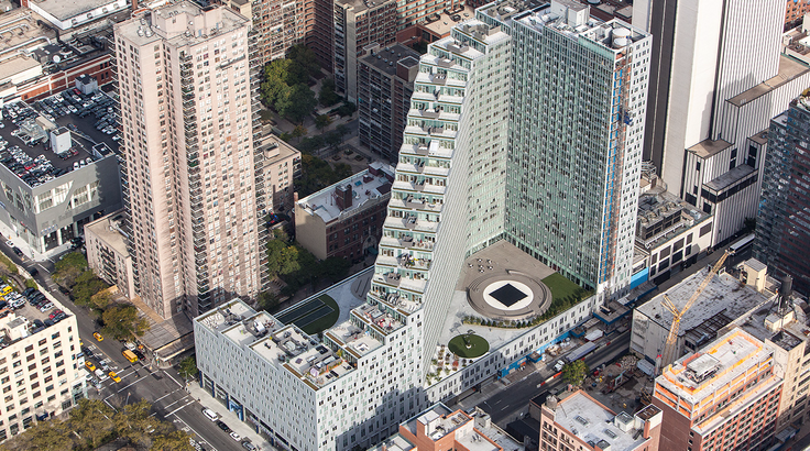 Mercedes House at 550 West 54th Street is now offering up to two months of free rent. (Image via Two Trees)