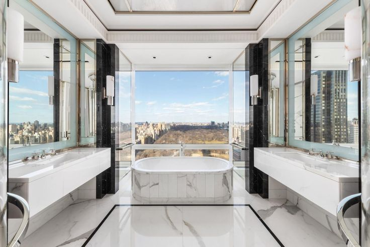 Master bath at 220 Central Park South via Douglas Elliman