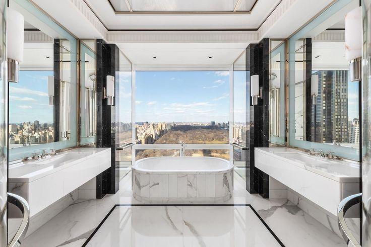 Master bath at 220 Central Park South via Douglas Elliman