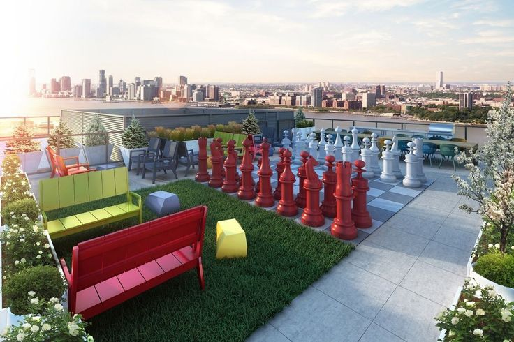 A giant chess set can be found on 507 West Chelsea's roof deck