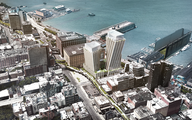 The towers will stand alongside the High Line and Hudson River.