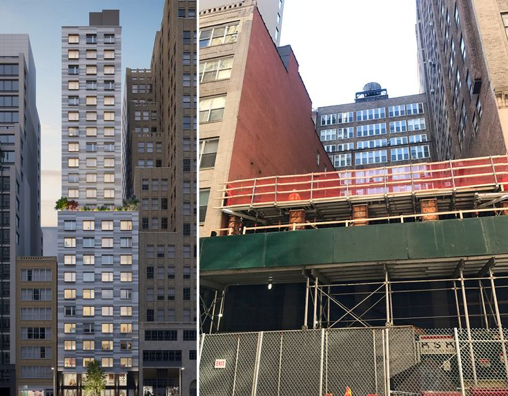 L: Rendering by ZH Architects for Bernstein Real Estate, R: Construction photo by CityRealty