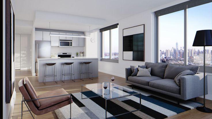 Living/Kitchen Area. Rendering via KRE Group