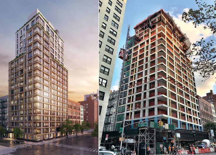 L: Rendering via BKSK Architects R: Construction Photo via CityRealty