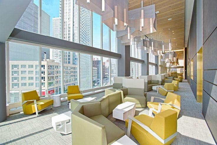 Hayden's 10,000-square-feet of amenities includes this lounge with inspiring neighborhood views (Image via Rockrose)