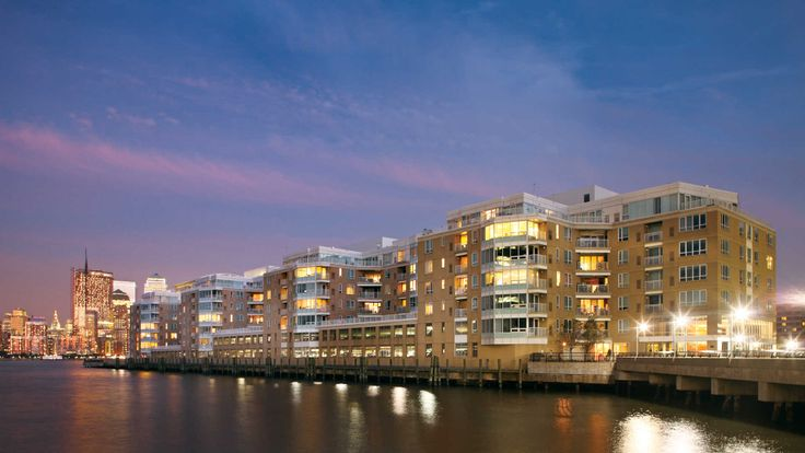 The Pier Apartments at 1 Harborside Place in Jersey City sit directly on a waterfront pier. (Image via Equity Residential)