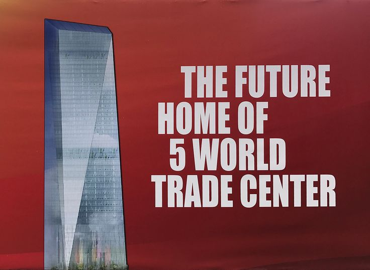 Rendering of 5 World Trade Center posted on site fence