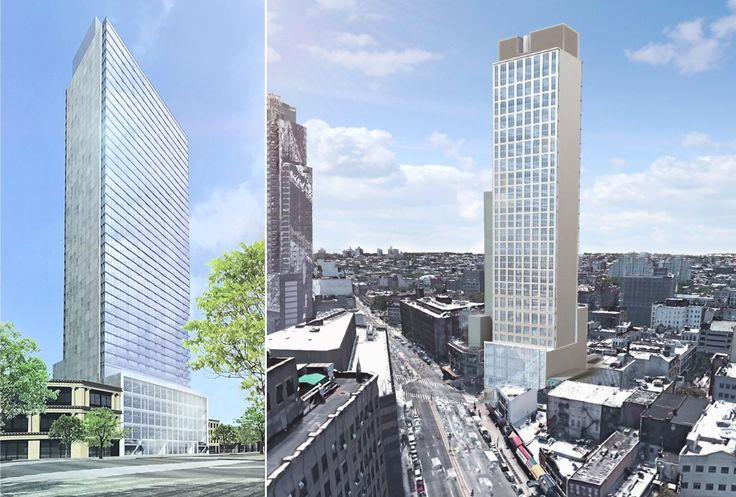 L: 540 Fulton Street rendering posted on construction fence, R: Rendering via Loopnet