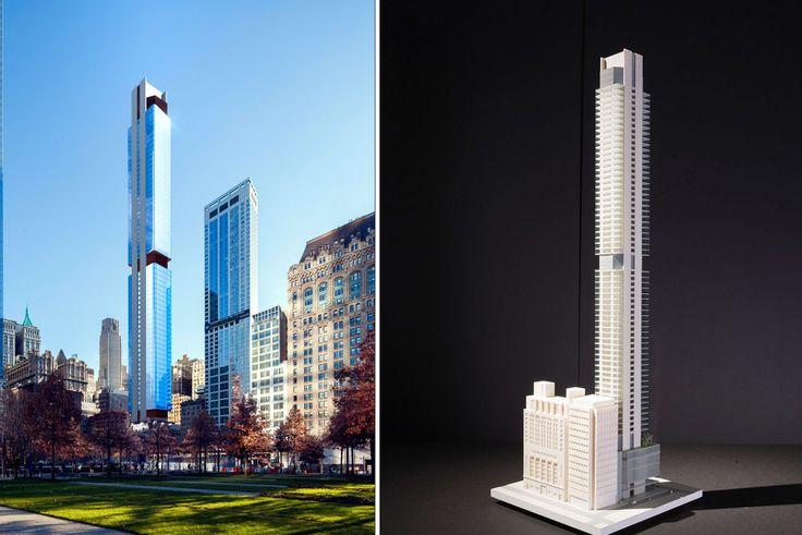 125 Greenwich Rendering and Model, via Rafael Vinoly Architects
