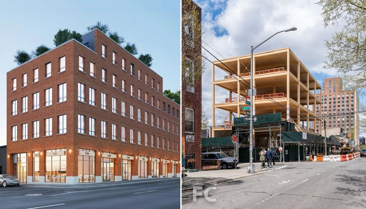 L: 360 Wythe Avenue rendering via Flank Architecture + Development, R: Construction photo courtesy of Field Condition