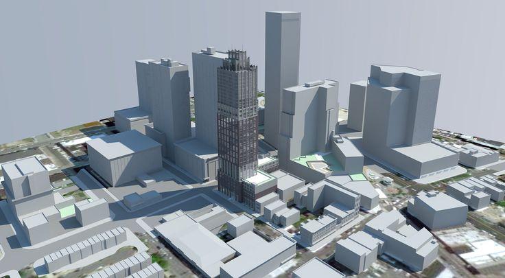 Model skyline featuring 331 Marin Boulevard via Marchetto Higgins Stieve