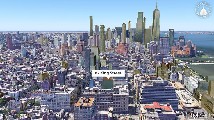 Google Earth View of the Proposed Nearly-Identical Structures at 82 King Street; CityRealty