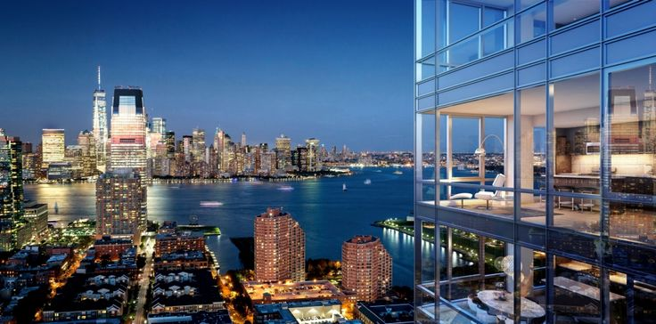 View from Vantage, a new 45-story rental debuting in Jersey City this spring. (Image via Fisher Development Associates)