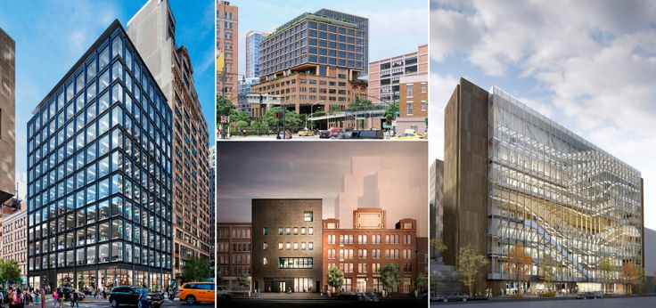 Renderings of some of the commercia and academic developments coming to Manhattan's Chelsea area
