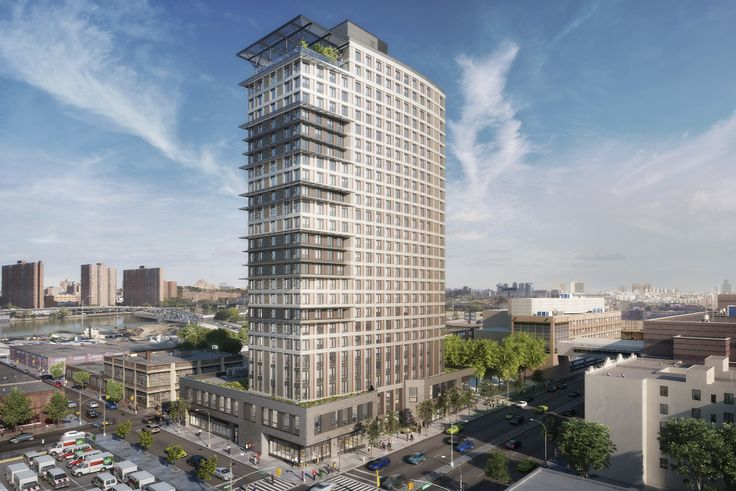 Rendering of 425 Grand Concourse towering over Mott Haven (Dattner Architects)