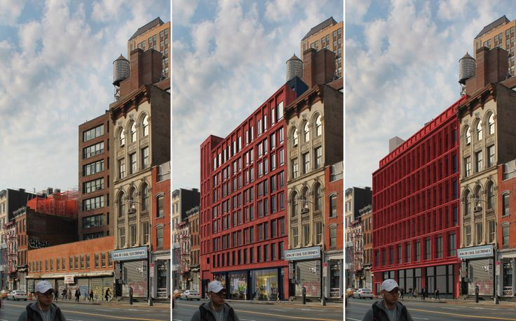 This will be Castrucci's third time going before the LPC for 312-322 Canal Street. All renderings via Paul A. Castrucci Architect